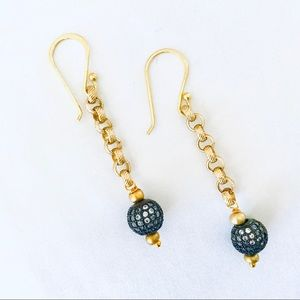 Gold and Crystal Pave Drop Earrings